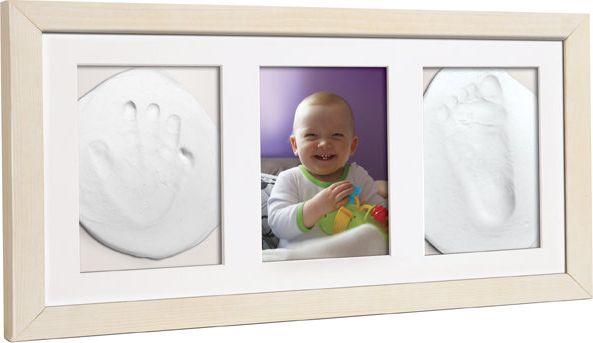 Baby HandPrint potrójna ramka z glinką biała